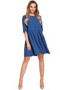 Blue Buttons Closure Mini Dress