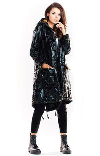Black Glossy Hooded Parka Coat