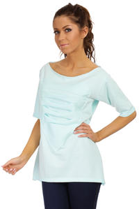 Mint Long T-shirt with Loose Neckline