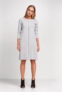 Light Grey Round Neckline Casual Dress