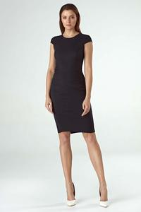 Black Fitted Midi Dress with Half-sleeve