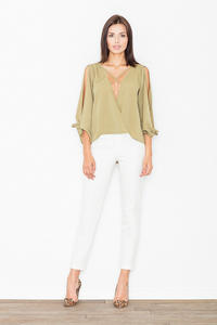 Olive Green Cut Out Sleeves Stylish Blouse