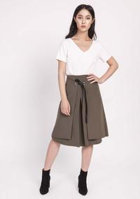 Khaki Trapezoid Skirt with Eco-Leather Ribbon