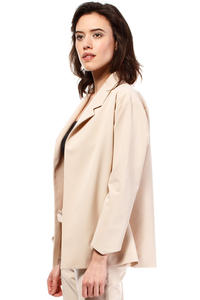 Beige Loose Fit Classic Style Blazer