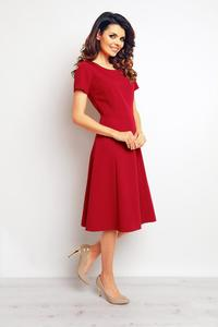 Dark Red Short Sleeves Light Pleats Dress