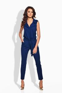 Blue Elegant Ladies Jumpsuit with Belt