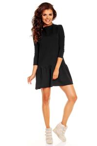 Black Long Sleeves Sporty Smock Dress