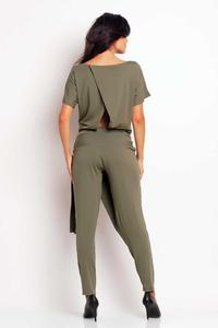 Olive Green Stylish Self Tie Belt Baggy Pants Jumpsuit