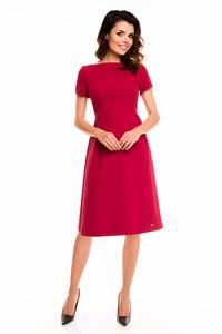 Dark Red Short Sleeves Midi Flared Dress