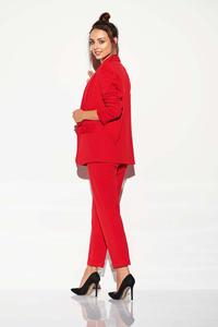 Red Fabric Basic Trousers with a tapered leg