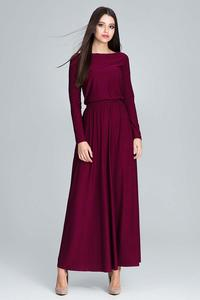 Maroon Long Sleeves Maxi Dress