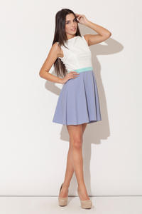 Blue Seam Bodice Flippy Dress with Contrast Belt