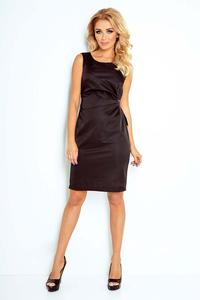 Black Simple Coctail Dress with Sash at The Back