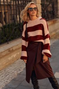 Loose sweater with wide pink and maroon stripes