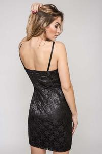 Black Bodycon Spaghetti Straps Lace Dress