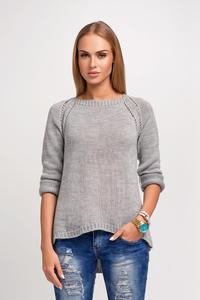 Grey Casual Sweter with Longer Back