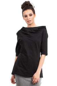 Black Long Hooded Blouse