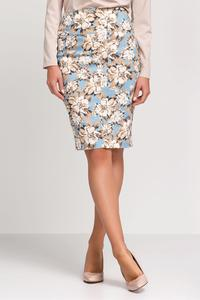 Beige&Blue Floral Pattern Pencil Dress