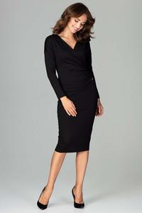Black Wrap Front Pencil Dress