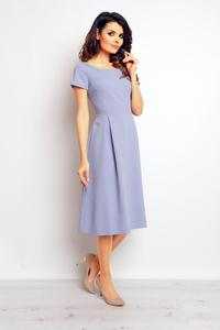 Light Blue Classic Short Sleeves Midi Dress