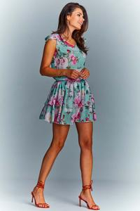 Green Airy Summer Flower Dress with a frill
