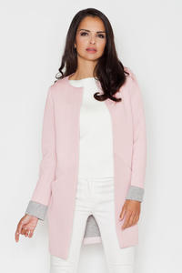 Pink Elegant Round Neck Short Coat