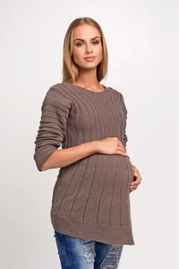 Cappuccino Asymmetric Maternity Sweater