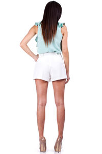 Ecru Shorts with Loops and Hip Pockets