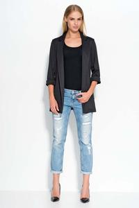 Black Casual Long Ladies Blazer