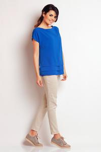 Blue Classic Short Sleeves Blouse