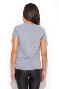 Grey Slogan Printed T Shirt for Women