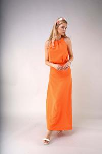 Elegant Long Dress with a Cut-Out on the Back - Orange