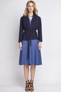 Dark Blue Stylish Self Tie Belt Blazer