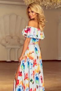 Colorful Flowers Maxi Elegant Dress