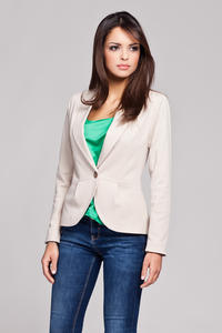 Beige Long Lapel Single Button Closure Blazer for Women