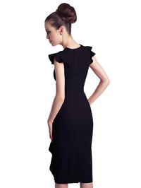 Black Structured Petal Sleeves Midi Dress