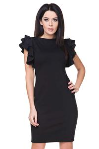 Little Black Dress with Frilled Sleeves