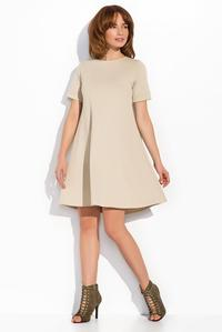 Beige Short Sleeves Mini Swing Dress