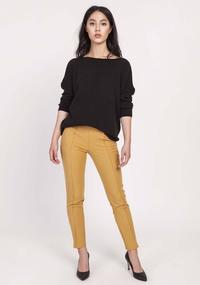 Black Loose Knit Blouse with Boat Neckline
