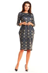Formal Wear Simple Romby Dress with Pattern with Sleeves ¾