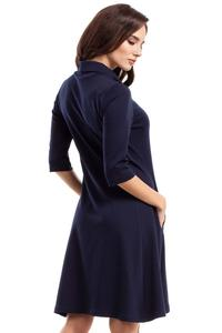 Dark Blue Flared Dress with Tourtleneck