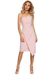 Powder Pink Asymmetrical Sleeveless Evening Dress