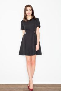 Black Short Sleeves Dress with Leather Details