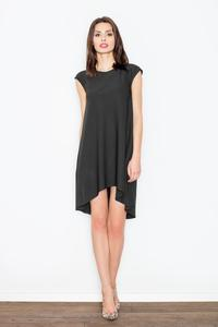 Black Asymmetric Hem Romantic Swing Dress