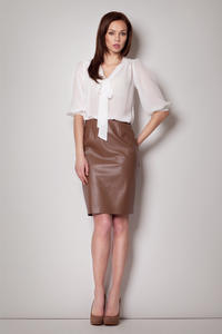 Pencil Leather Brown Skirt with Back Seam zip Fastening