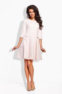 Pink Delicate Pleats Big Pockets Dress
