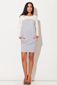 Grey Color Block Shirt Dress with Side Pockets