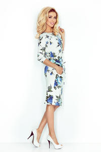 Ecru Dress in Big Cornflower Flowers pulled in the Belt