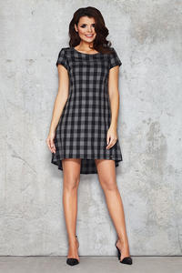 Black and Grey Checkered Bib Seam Dress with Parabolic Hemline
