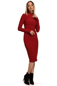 Fitted Midi Dress with Turtleneck (Brick red)